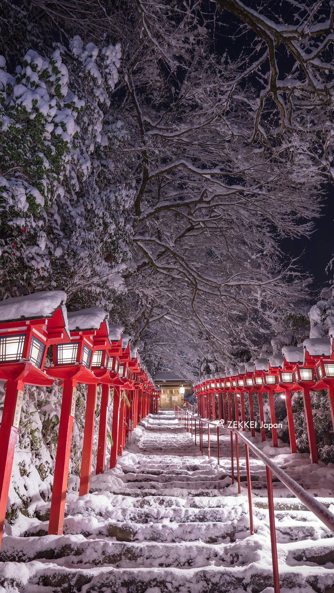 絶景壁紙 真っ白な雪に映える朱塗りの壁紙 Zekkei Japan