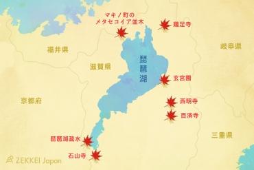 メタセコイア並木から鶏足寺まで!滋賀県・琵琶湖周辺の7つの紅葉名所