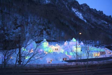 Sounkyo-Onsen Ice Waterfall Festival